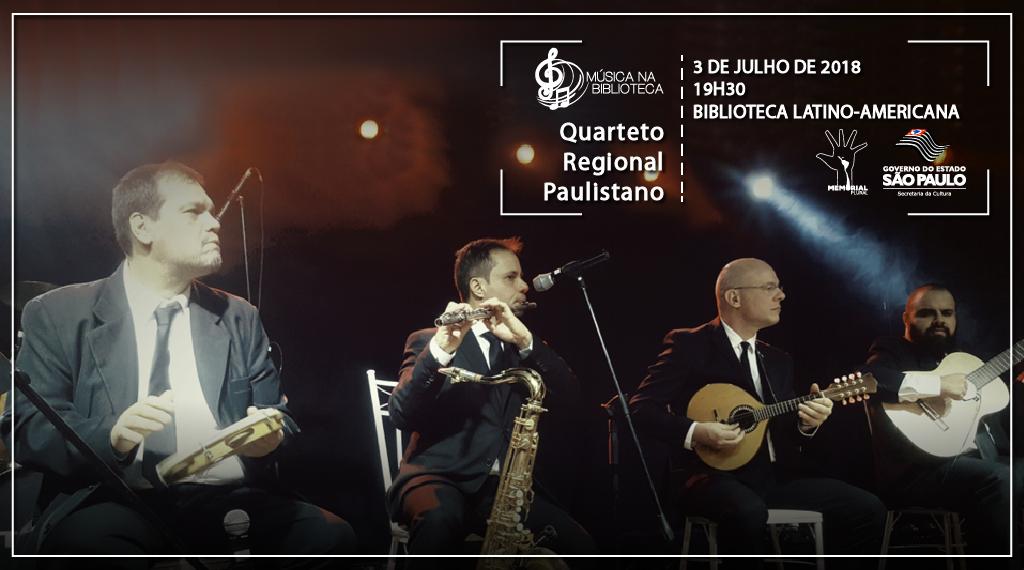 Projeto Música na Biblioteca inicia 2º semestre com Quarteto Regional Paulistano